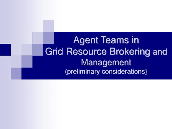 Agent teams in grid resource brokering and management preliminary considerations