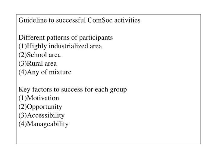 Guideline to successful ComSoc activities