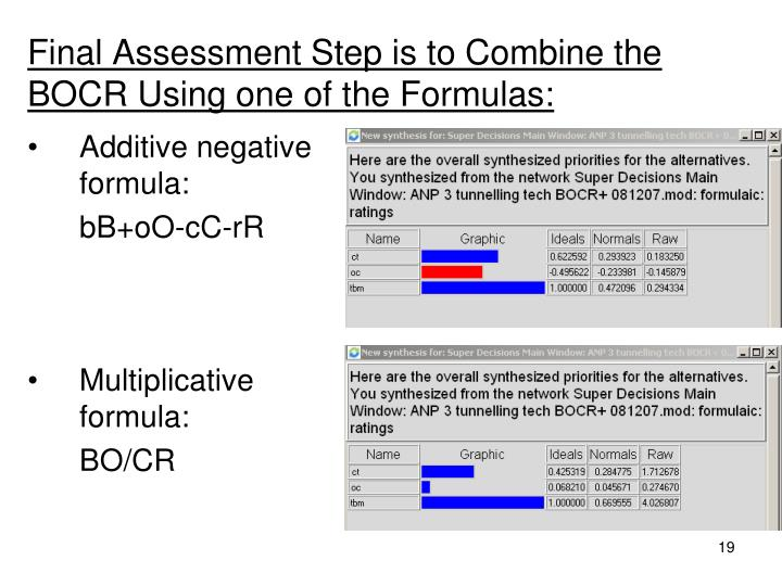 Final Assessment Step is to Combine the BOCR Using one of the Formulas: