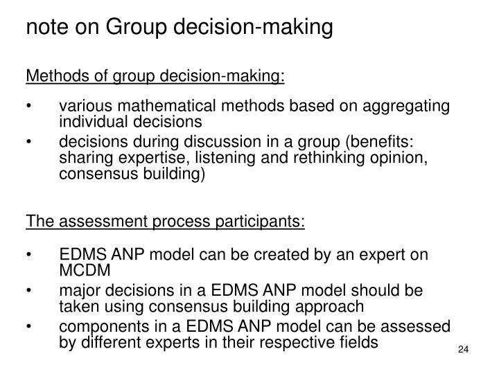 note on Group decision-making