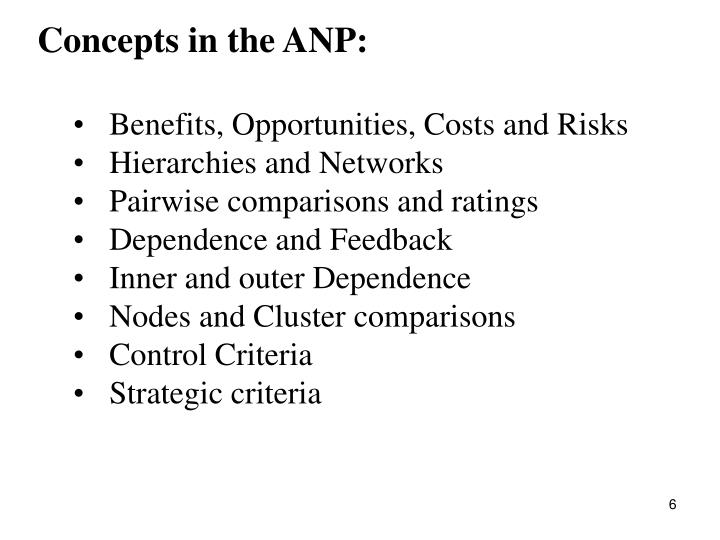 Concepts in the ANP: