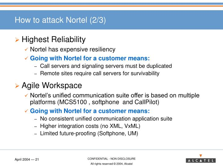 How to attack Nortel (2/3)