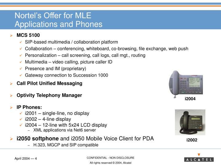 Nortel's Offer for MLE