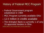 history of federal mcc program