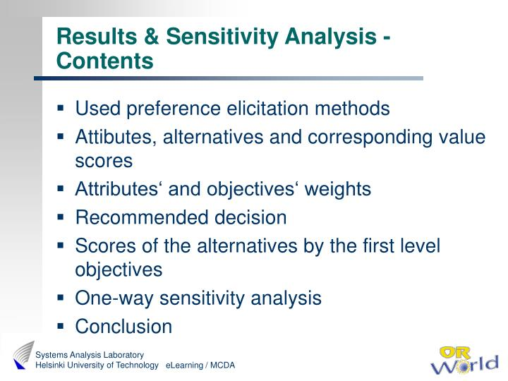 Results & Sensitivity Analysis - Contents