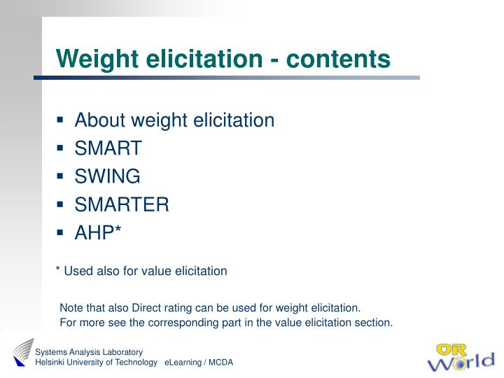 Weight elicitation - contents