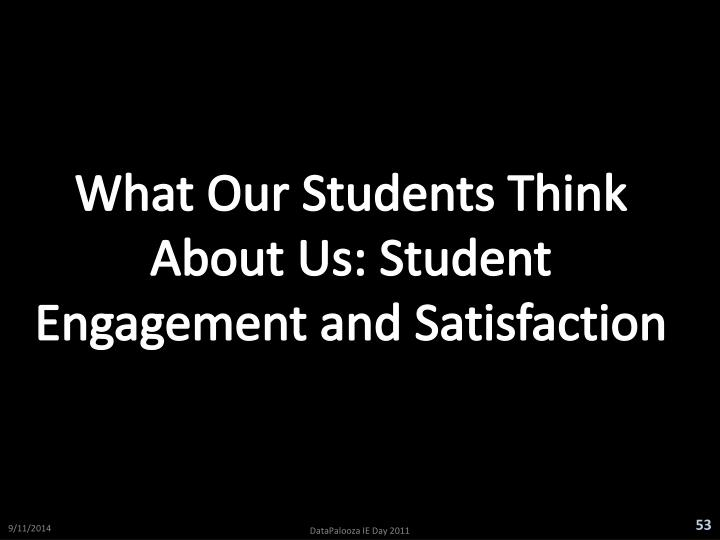 What Our Students Think About Us: Student Engagement and Satisfaction