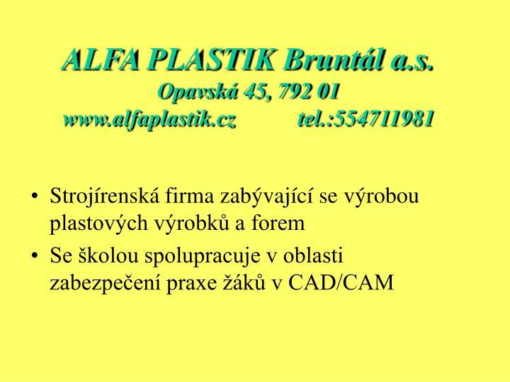 ALFA PLASTIK Bruntál a.s.
