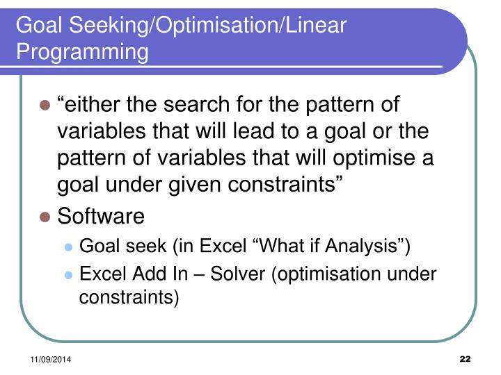 Goal Seeking/Optimisation/Linear Programming