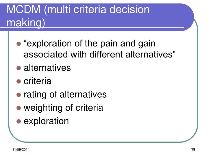 MCDM (multi criteria decision making)