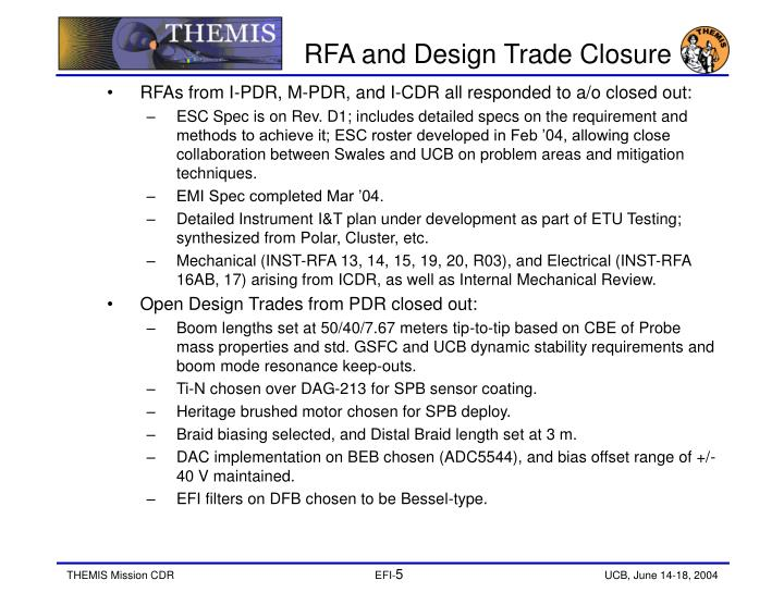 RFA and Design Trade Closure