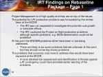 irt findings on rebaseline package page 1