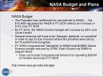 nasa budget and plans
