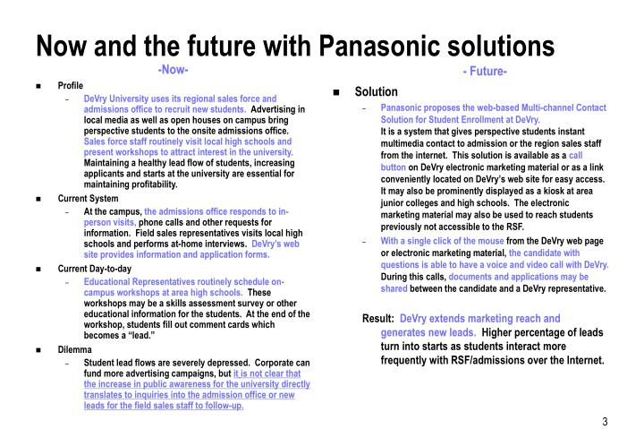 Now and the future with panasonic solutions