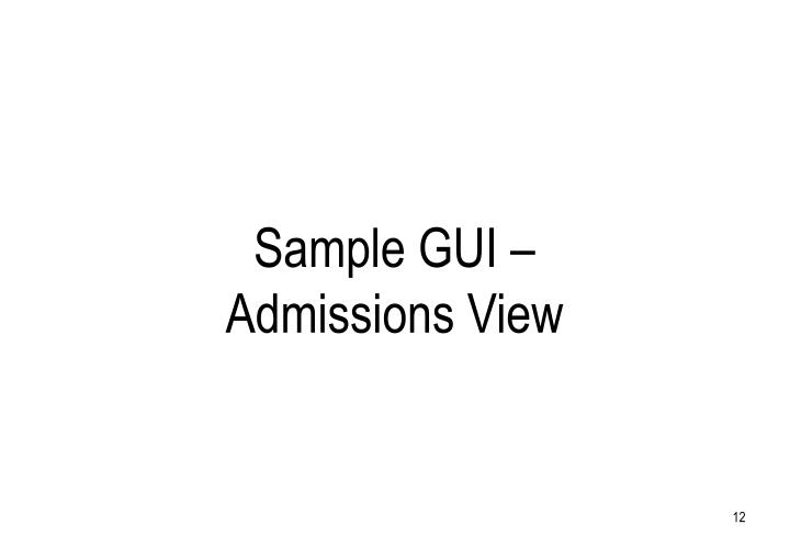 Sample GUI – Admissions View
