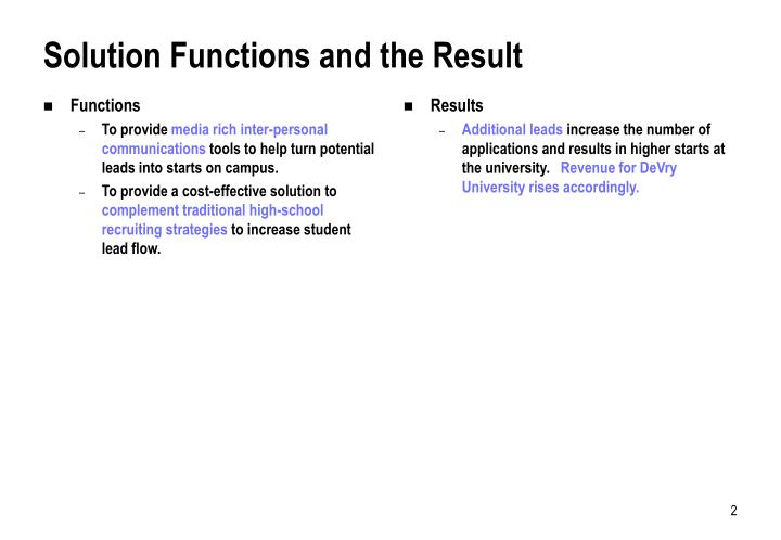Solution functions and the result