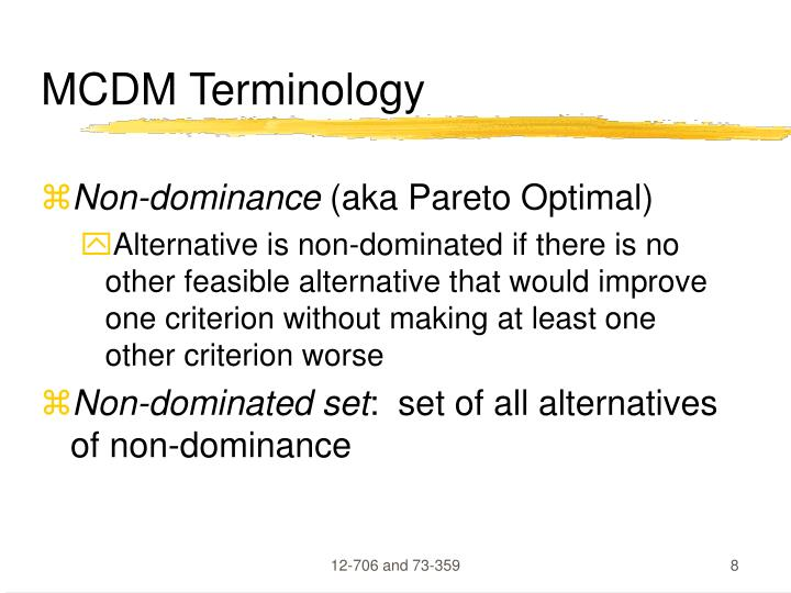 MCDM Terminology