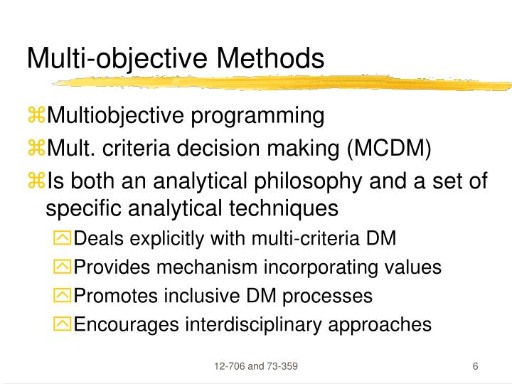 Multi-objective Methods