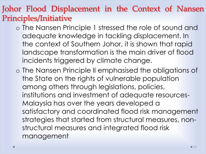 Johor Flood Displacement in the Context of Nansen Principles/Initiative