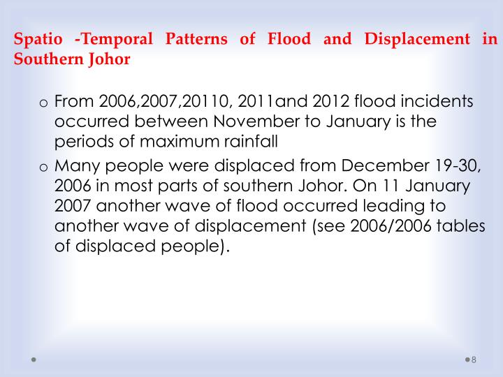 Spatio -Temporal Patterns of Flood and Displacement in Southern Johor