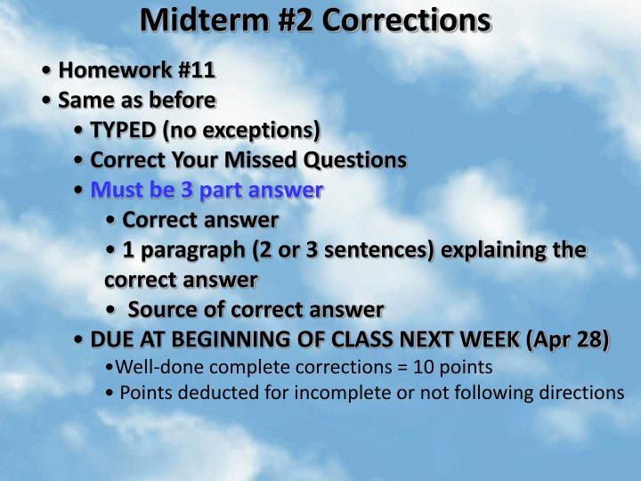 Midterm 2 corrections