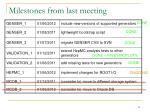 milestones from last meeting