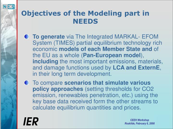 Objectives of the Modeling part in NEEDS