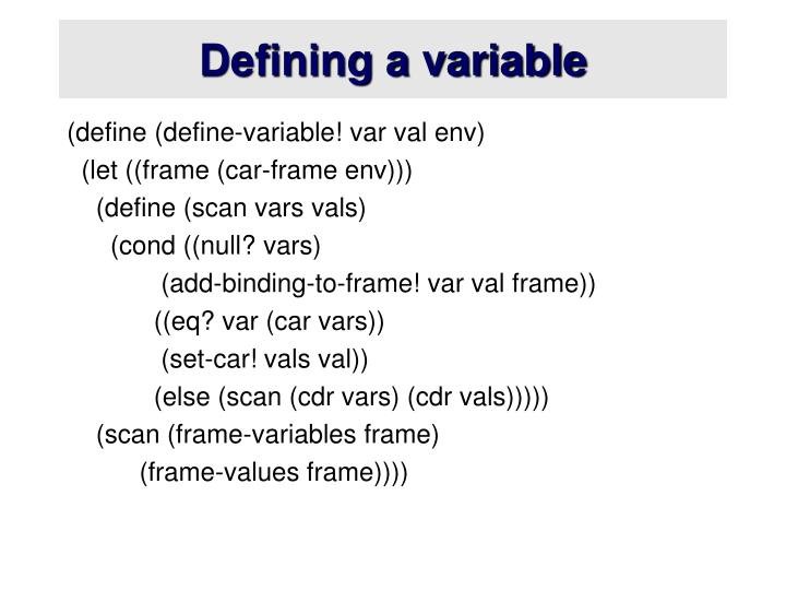 Defining a variable