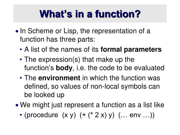 What's in a function?