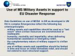 use of ms military assets in support to eu disaster response