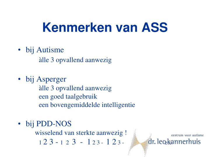Kenmerken van ASS