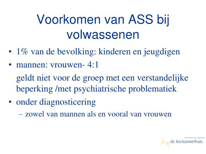 Voorkomen van ASS bij volwassenen