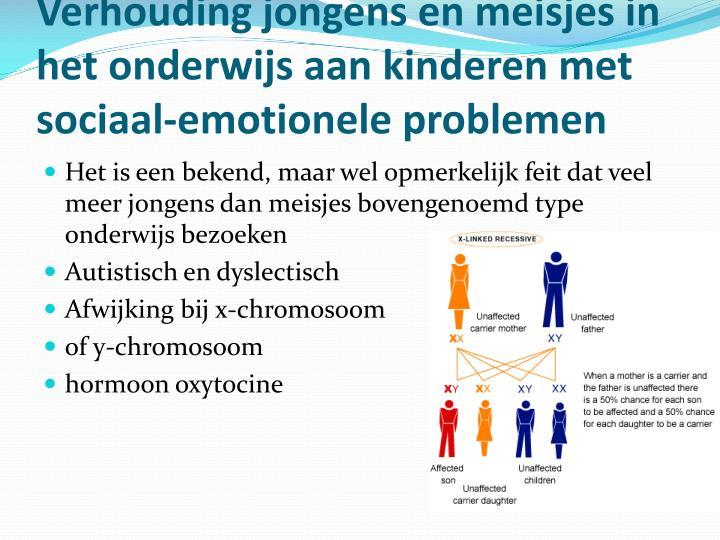 Verhouding jongens en meisjes in het onderwijs aan kinderen met sociaal-emotionele problemen