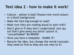 text idea 2 how to make it work