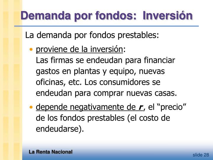 Demanda por fondos:  Inversión