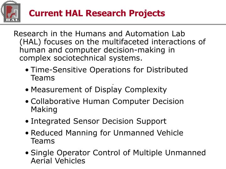 Current HAL Research Projects