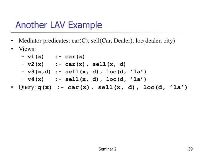 Another LAV Example