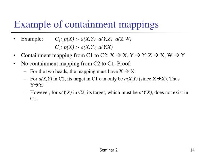 Example of containment mappings