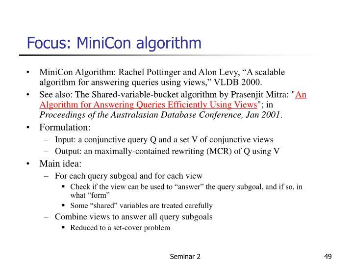 Focus: MiniCon algorithm