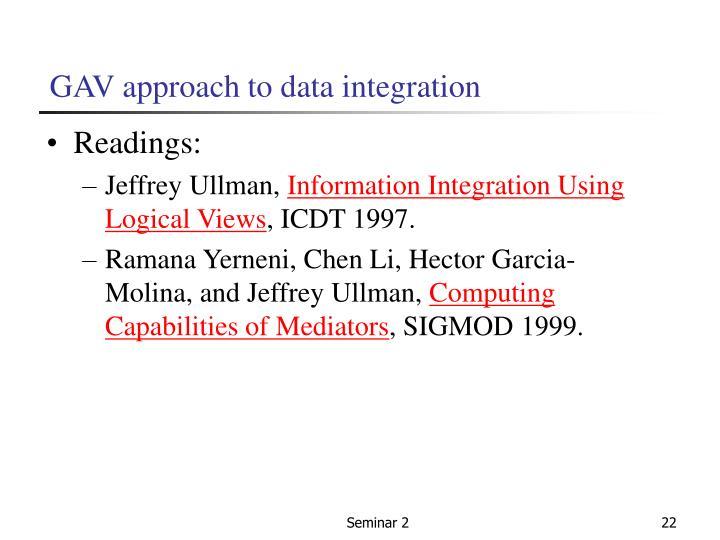 GAV approach to data integration