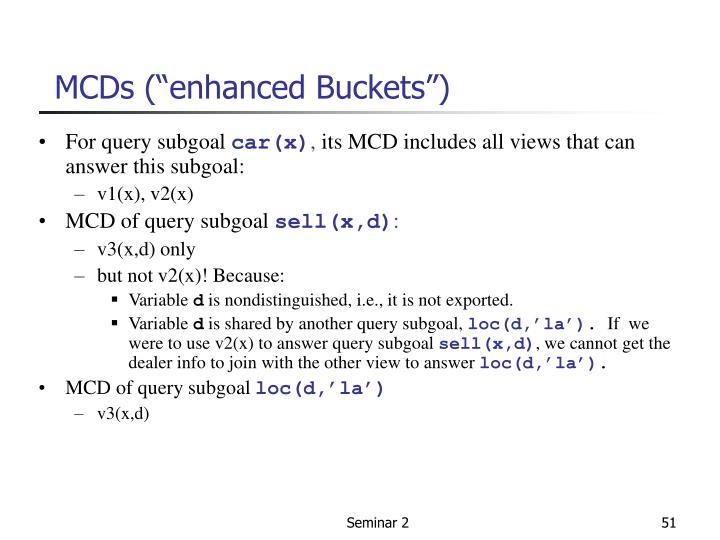 "MCDs (""enhanced Buckets"")"