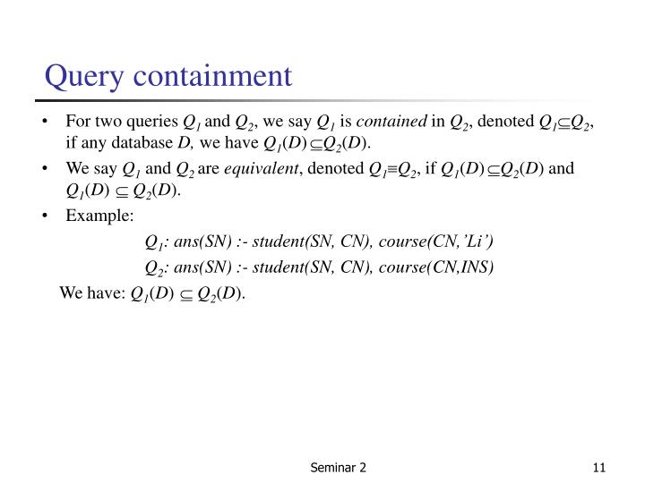 Query containment