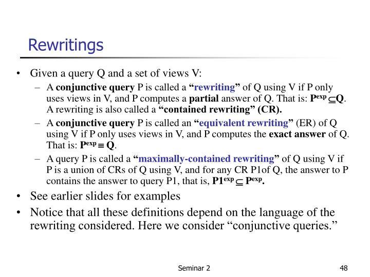 Rewritings