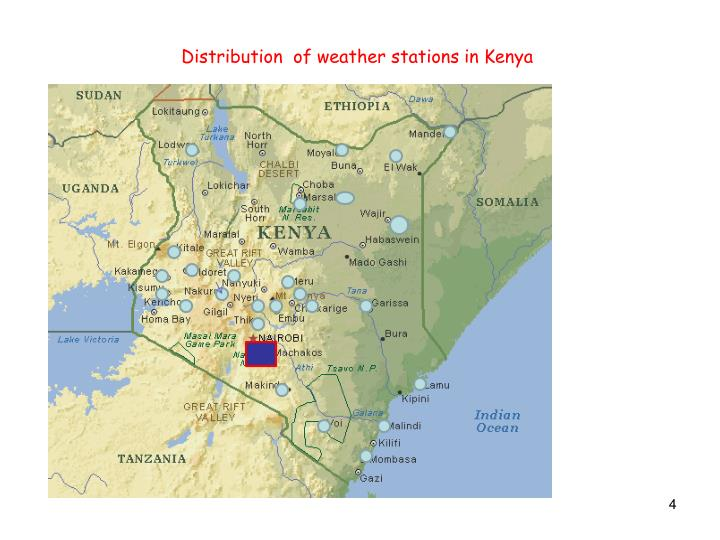 Distribution  of weather stations in Kenya