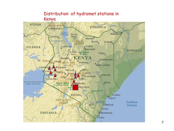 Distribution  of hydromet stations in Kenya