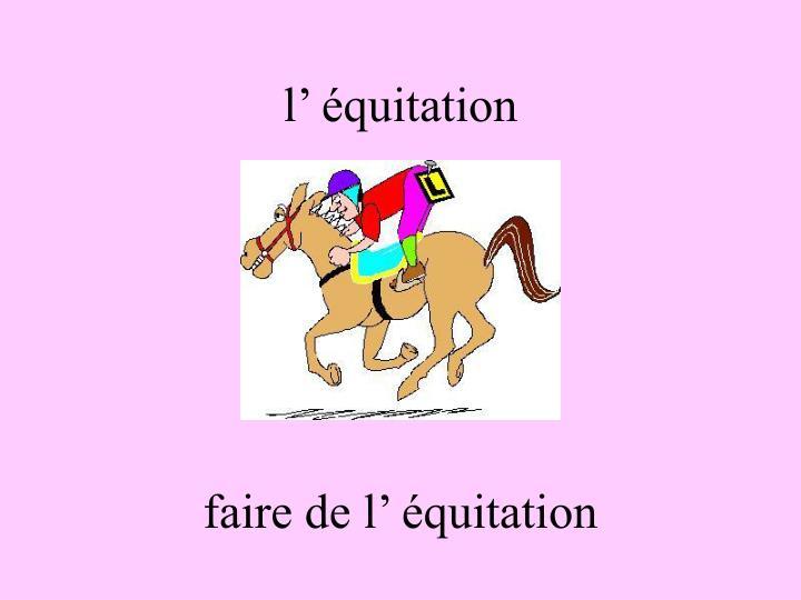 l' équitation