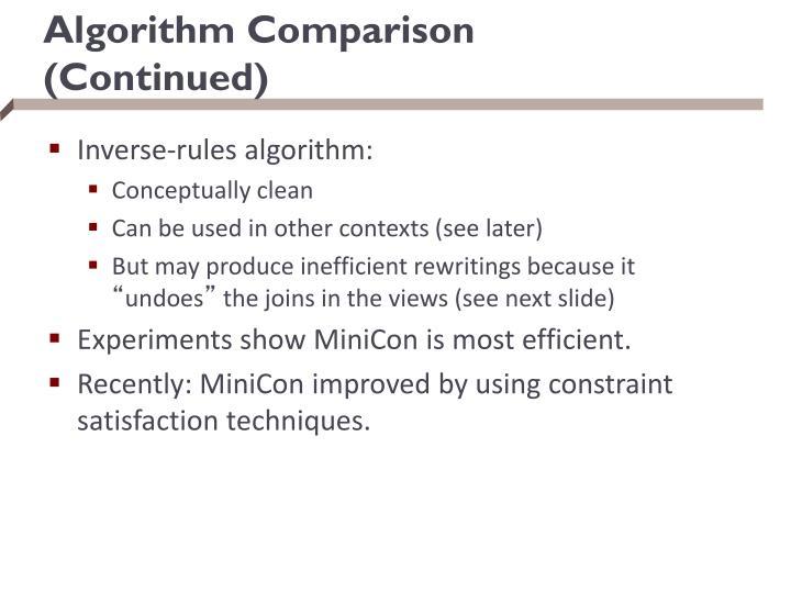 Algorithm Comparison (Continued)