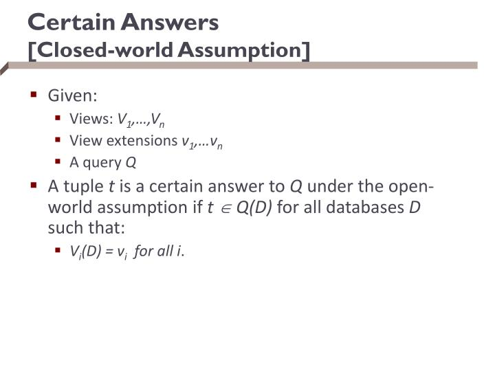 Certain Answers