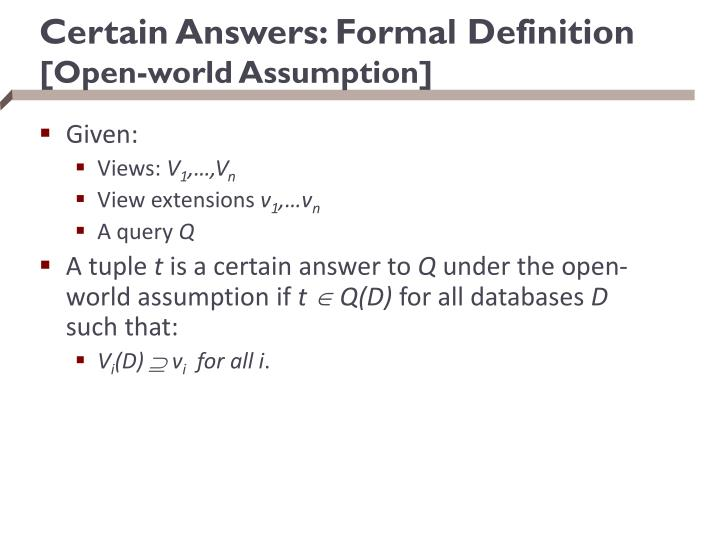 Certain Answers: Formal Definition