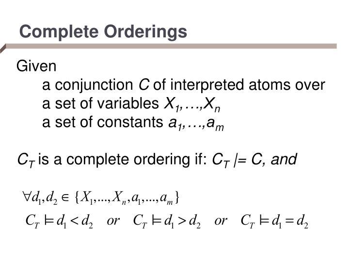 Complete Orderings